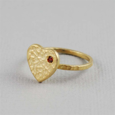 Hammered Gold Red Stone Heart Ring