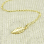 Hammered Gold Green Stone Leaf Necklace
