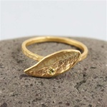 Handmade Gold Green Stone Leaf Ring