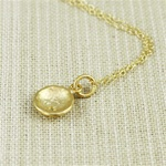 Hammered Gold White Stone Dish Necklace
