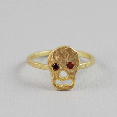 Hammered Gold Red Stone Skull Ring