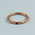 Hammered Rose Gold Red Stone Band Ring