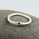 Hammered Silver Red Stone Band Ring