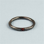 Hammered Black Red Stone Band Ring