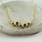 Gold Cluster Peridot Necklace