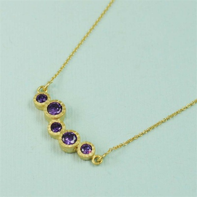 Gold Cluster Amethyst Necklace