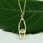 Gold Oval Hoop Pink Quartz Necklace