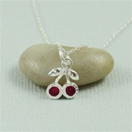 Silver Ruby Cherries Necklace