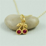 Gold Ruby Cherries Necklace