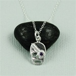Silver Amethyst Skull Necklace