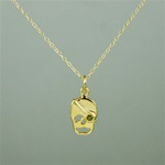 Gold Peridot Skull Necklace