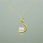 Two Tone Night Owl Necklace