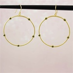 Gold Green Stone Hoop Earrings
