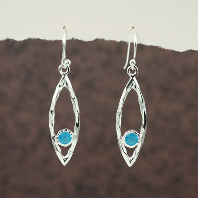 Silver Oval Hoop Blue Topaz Earrings