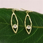 Gold Oval Hoop Pink Quartz Earrings