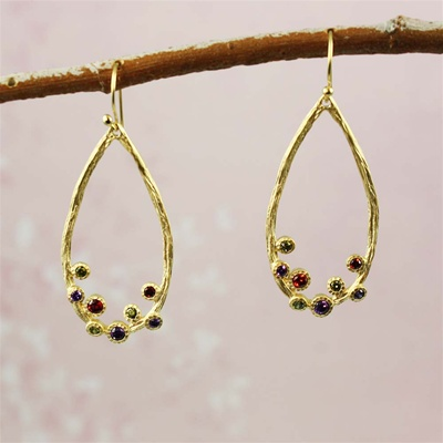 Gold Gemstones in the Hoop Earrings