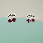 Silver Ruby Cherries Earrings