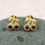 Gold Ruby Cherries Earrings
