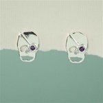 Silver Amethyst Skull Earrings