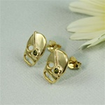 Gold Peridot Skull Earrings