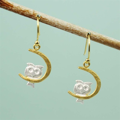 Two Tone Night Owl Earrings