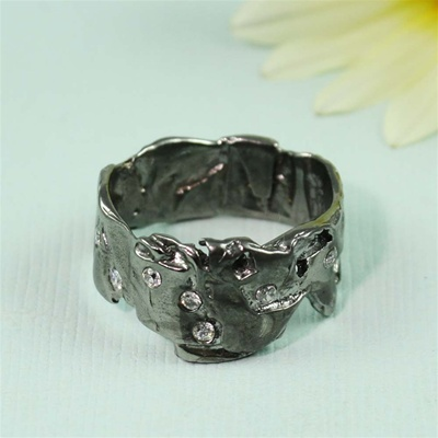 Black Rhodium White CZ Wide Band Ring