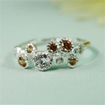Silver Gemstone Cluster Ring