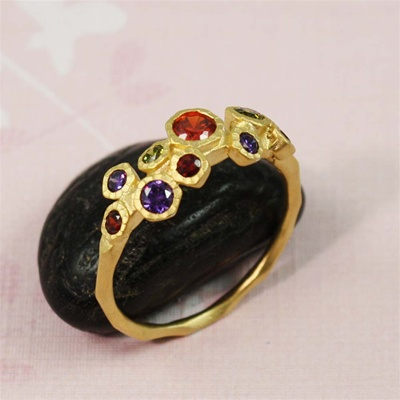 Gold Gemstone Cluster Ring
