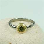 Black Rhodium Gold Face Peridot Ring