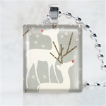 White Reindeer Scrabble Game Tile Necklace