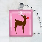 Brown Reindeer Scrabble Game Tile Necklace