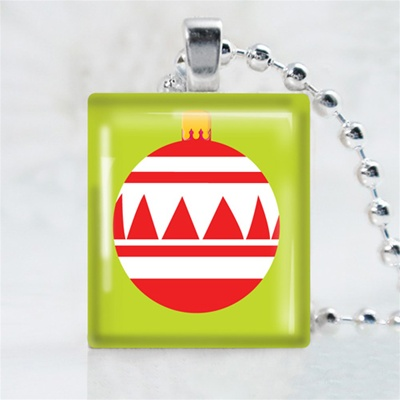 Red Ornament Scrabble Game Tile Necklace