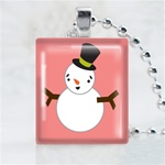 Black Hat Snowmen Scrabble Game Tile Necklace
