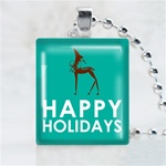 Happy Holiday Reindeer Scrabble Game Tile Necklace