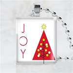 Joy Christmas Tree Scrabble Game Tile Necklace
