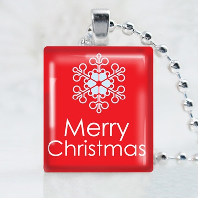 Merry Christmas Snowflake Scrabble Game Tile Necklace
