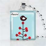 Cheer Bird Scrabble Game Tile Necklace