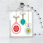 Three Ornament Scrabble Game Tile Necklace