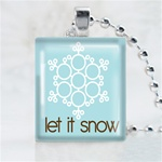 Let it Snow Snowflake Scrabble Game Tile Necklace