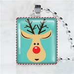 Reindeer Head Scrabble Game Tile Necklace