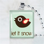 Let It Snow Bird Scrabble Game Tile Necklace