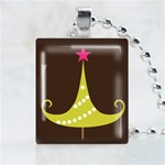 Star Christmas Tree Scrabble Game Tile Necklace
