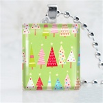 Christmas Tree Patterns Scrabble Game Tile Necklace