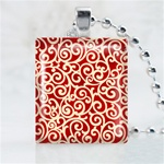 Scroll Red Patterns Scrabble Game Tile Necklace