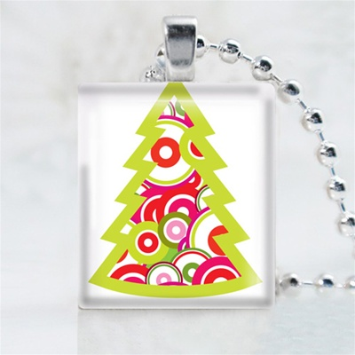 Funky Christmas Tree Scrabble Game Tile Necklace