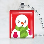Scarf Snowmen Scrabble Game Tile Necklace