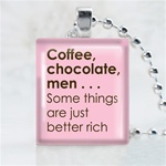 Coffee, Chocolate, Men Scrabble Game Tile Necklace