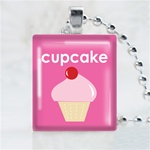 Cupcake Scrabble Game Tile Necklace