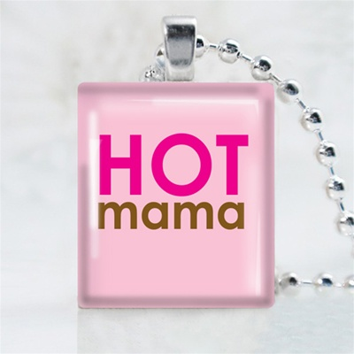 Hot Mama Scrabble Game Tile Necklace