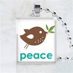 Peace Bird Scrabble Game Tile Necklace
